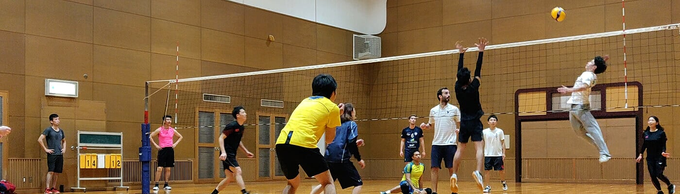 having fun with volleyball