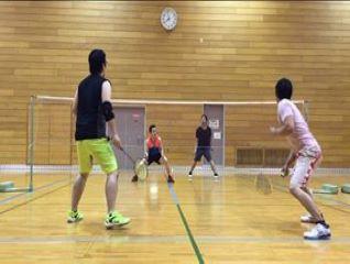 man playing badminton in osaka gym