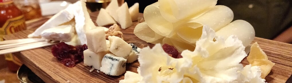 assorted cheese platter long