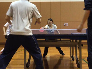 playing table tennis in osaka gym