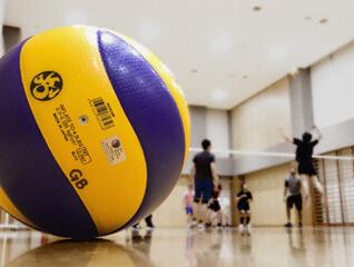 volleyball on hard wood gym floor