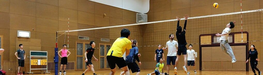 Spiking a volleyball